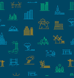 urban scenery elements seamless pattern background vector image