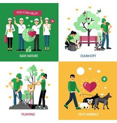 Volunteers 2x2 design concept vector