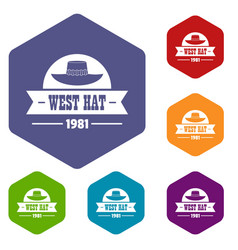 West hat icons hexahedron vector