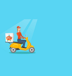 Woman delivering pizza on scooter vector