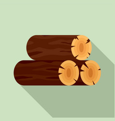 wood stack icon flat style vector image