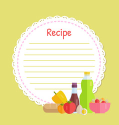 Yellow circle recipe decorated vegetable vector