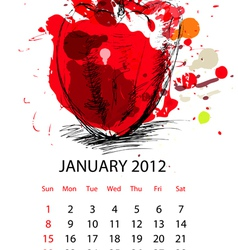 calendar for 2012 with vegetables vector image vector image