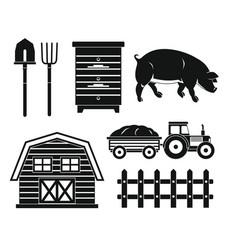 Farm black silhouette set isolated on white vector