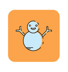 flat color snowman icon vector image