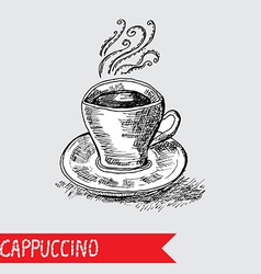 hand drawn cappuccino cup vector image vector image