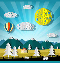 paper cut landscape nature scene with road cars vector image