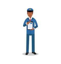 smiling postman in blue uniform holding clipboard vector image vector image