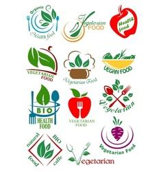 Vegetarian health food abstract design elements vector image vector image
