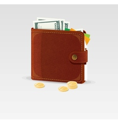 Wallet and coins isolated vector image vector image