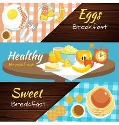 Breakfast Flat Banner Set vector image vector image