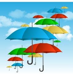 ccolorful umbrellas flying high vector image vector image