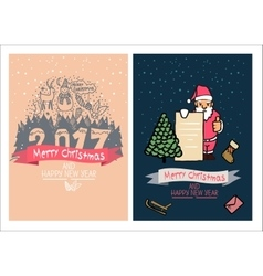 Cute Christmas card Happy New Year Family vector image vector image
