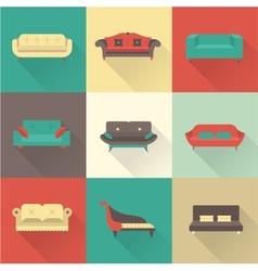 sofa icons vector image