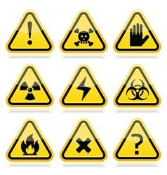 Danger risk warning modern traingle signs set vector image