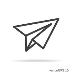 paper plane outline icon black color vector image vector image