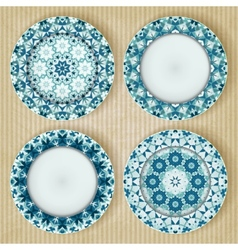 Plates with kaleidoscope pattern set vector image vector image