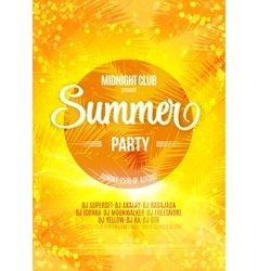 Summer party bright poster on a bokeh backdrop vector