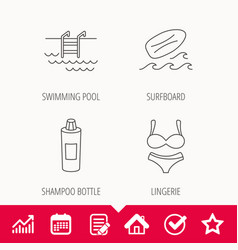 Surfboard swimming pool and lingerie icons vector