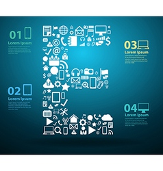 Application icons alphabet letters E vector image vector image