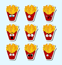 cartoon fries cute character face sticker vector image