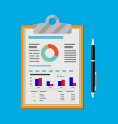 clipboard with financial reports and pen vector image