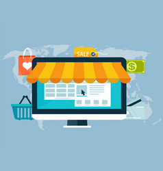 Concept of online shopping by electronic funds vector