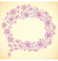 Pink doodle vintage flowers speech bubble vector image