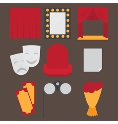 Theatre acting performance icons set with ticket vector image vector image