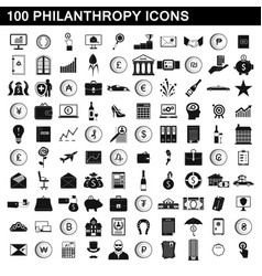 100 philanthropy icons set simple style vector image