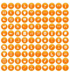 100 sport life icons set orange vector image
