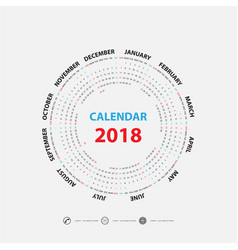 2018 calendar templatecalendar for 2018 vector image