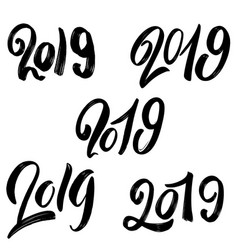 2019 new year set hand lettering phrases on vector image