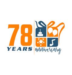 78 years gift box ribbon annivers vector