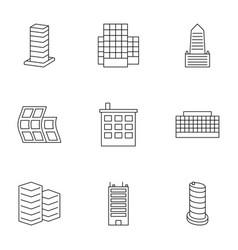 9 skyscraper icons vector