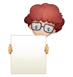 A smart looking boy holding an empty board vector