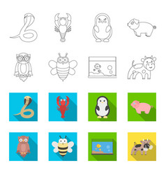 an unrealistic outlineflat animal icons in set vector image