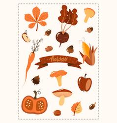 Autumn set hand drawn elements harvest vector