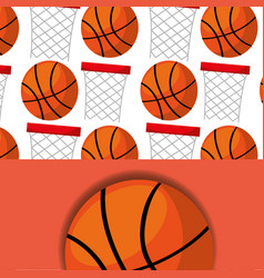 basketball hoop and ball sport competition pattern vector image
