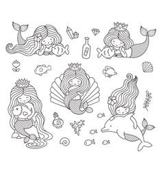 Beautiful little mermaids vector