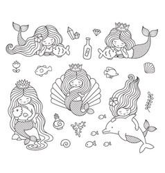 Beautiful little mermaids vector