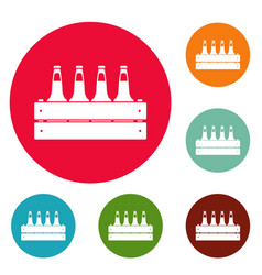 Beer crate icons circle set vector