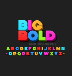 bold colorful 3d font vector image