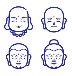 Buddha and monk face vector