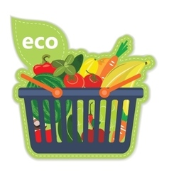 Cart beneficial eco supermarket fresh food fruit vector