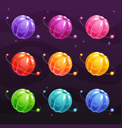 cartoon colorful jelly planets on space background vector image