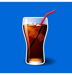 Cola or soda glass with ice cubes isolated on blue vector