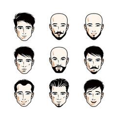 Collection of caucasian men faces expressing vector
