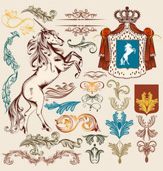 collection of heraldic vintage elements vector image