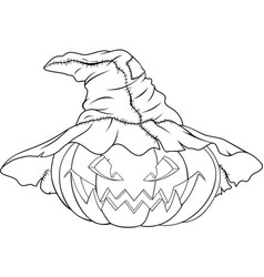 coloring pumpkin for halloween vector image